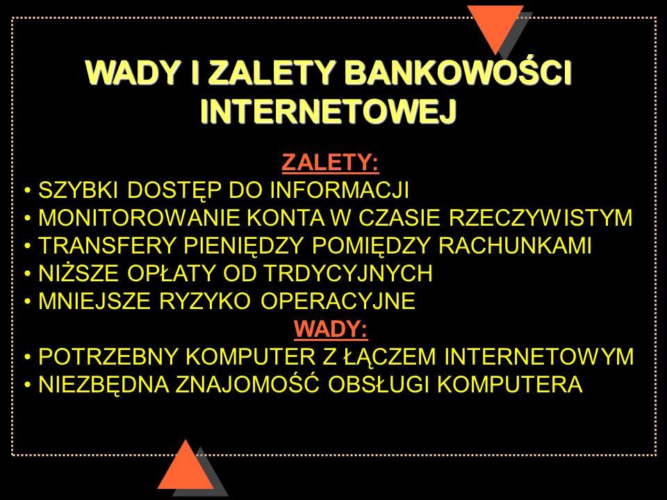 WADY I ZALETY BANKOWOŚCI INTERNETOWEJ