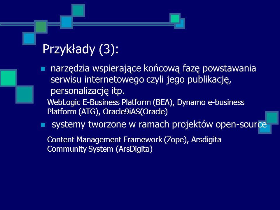 Przykłady (3): narzędzia wspierające końcową fazę powstawania serwisu internetowego czyli jego publikację, personalizację itp.