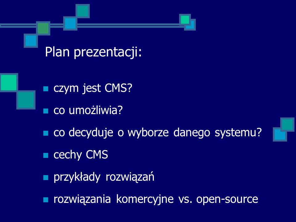 Plan prezentacji: czym jest CMS co umożliwia