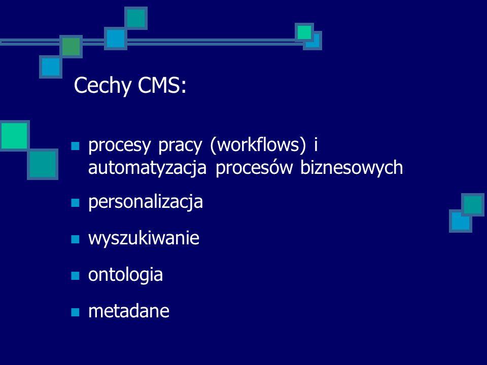 Cechy CMS: procesy pracy (workflows) i automatyzacja procesów biznesowych. personalizacja. wyszukiwanie.
