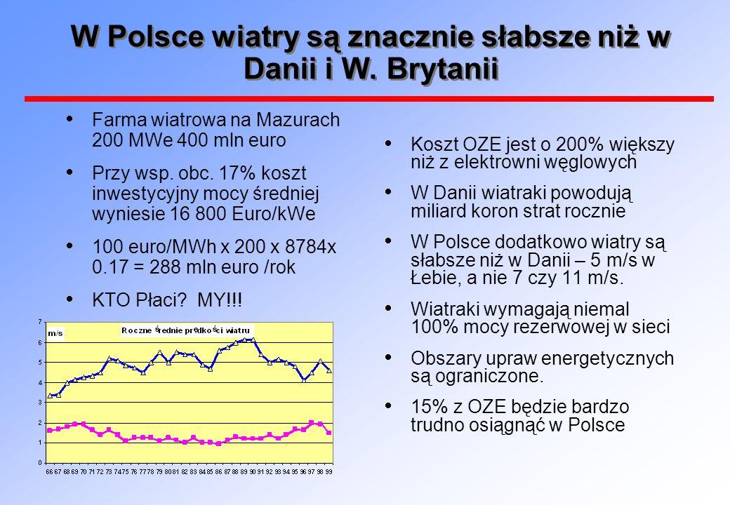 W Polsce wiatry są znacznie słabsze niż w Danii i W. Brytanii