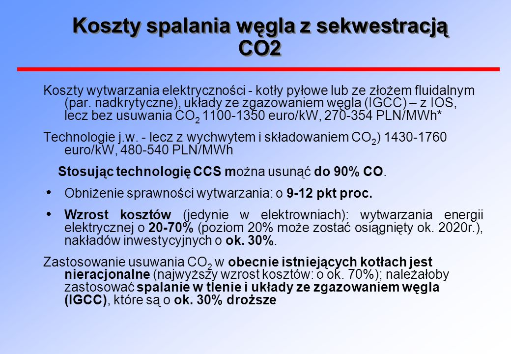 Koszty spalania węgla z sekwestracją CO2