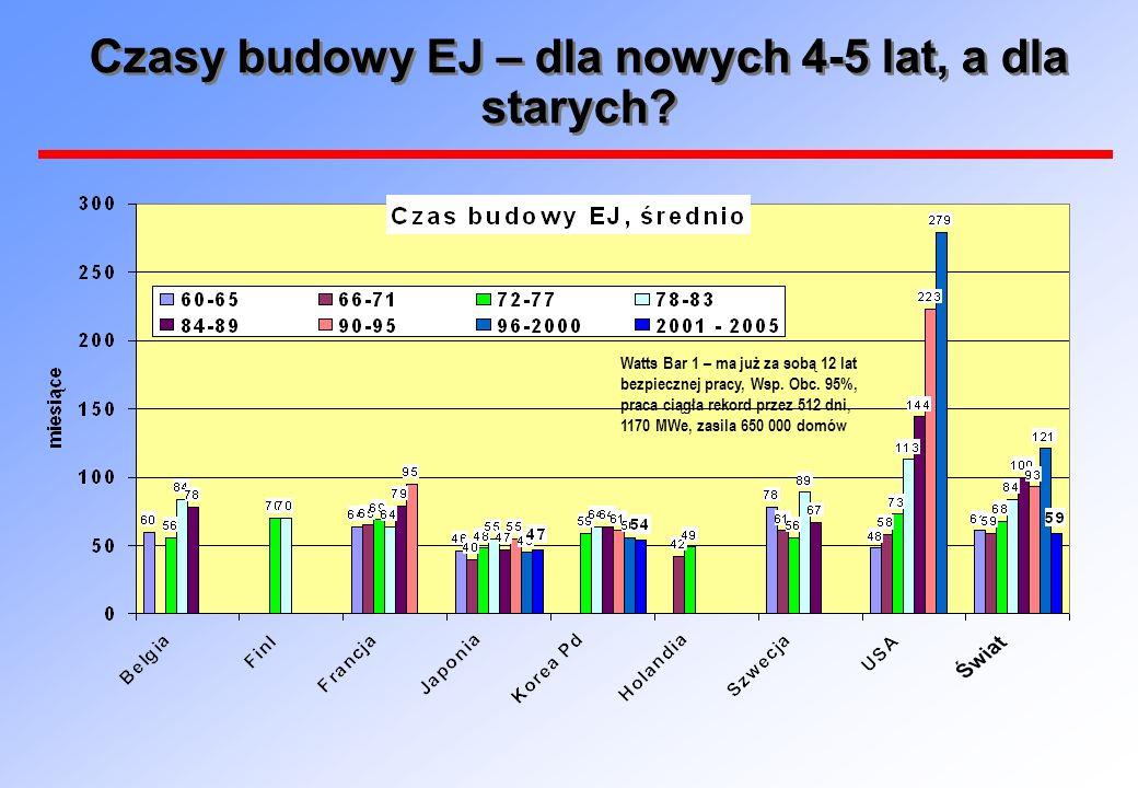 Czasy budowy EJ – dla nowych 4-5 lat, a dla starych