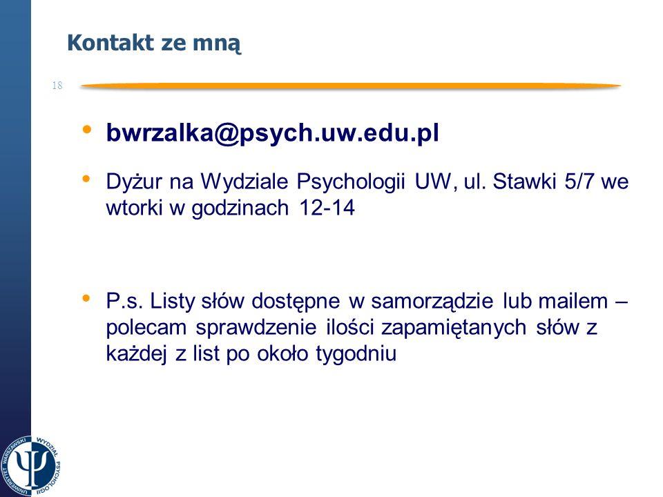bwrzalka@psych.uw.edu.pl Kontakt ze mną