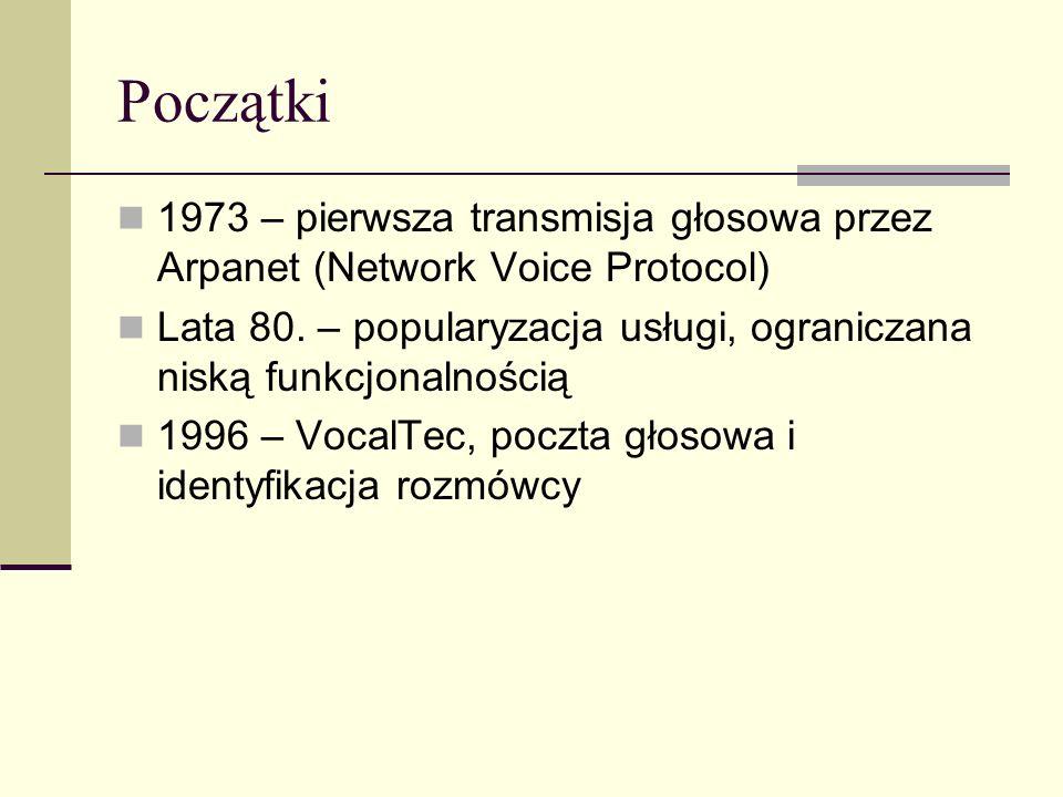 Początki 1973 – pierwsza transmisja głosowa przez Arpanet (Network Voice Protocol)