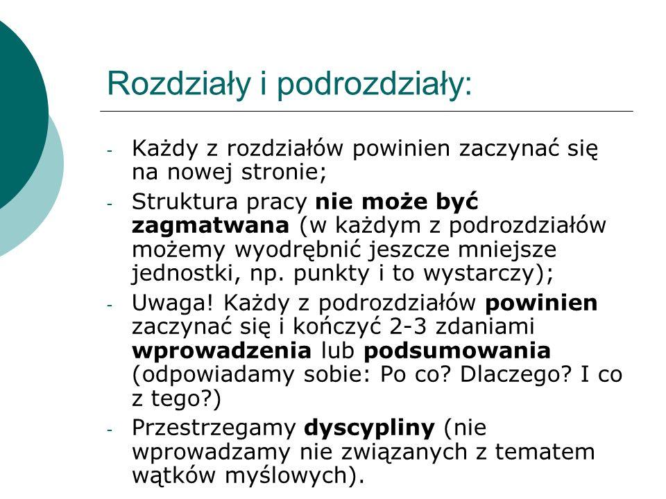 Rozdziały i podrozdziały: