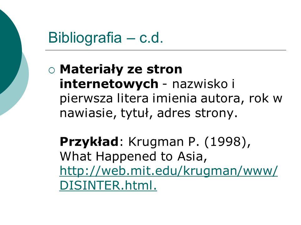 Bibliografia – c.d.