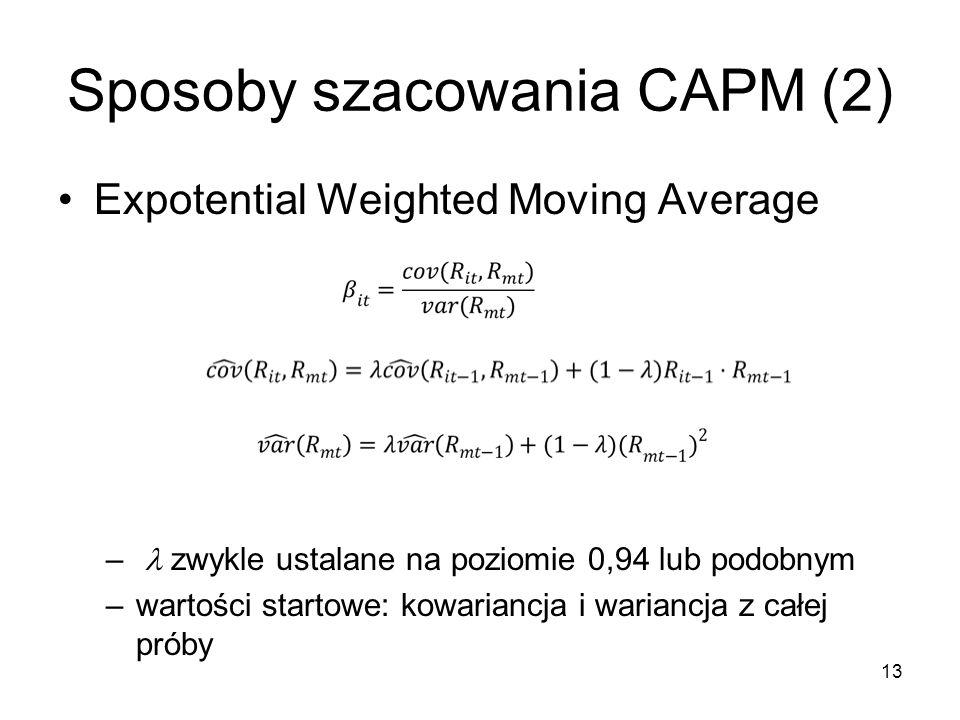 Sposoby szacowania CAPM (2)