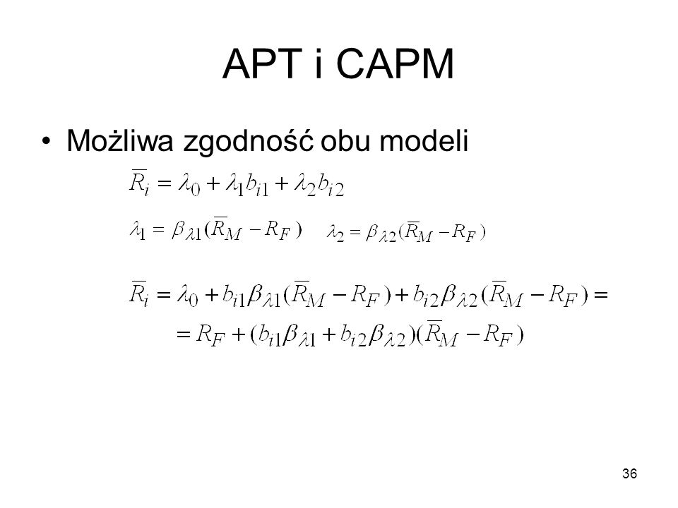 APT i CAPM Możliwa zgodność obu modeli