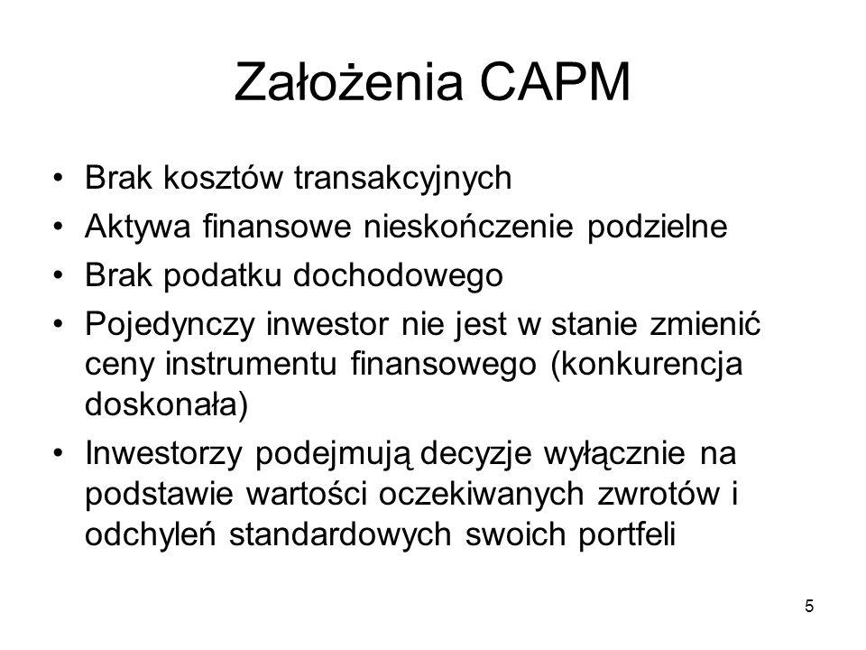 Założenia CAPM Brak kosztów transakcyjnych