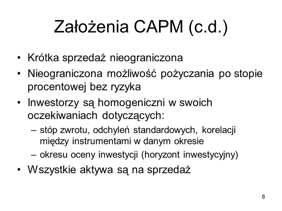 Założenia CAPM (c.d.) Krótka sprzedaż nieograniczona