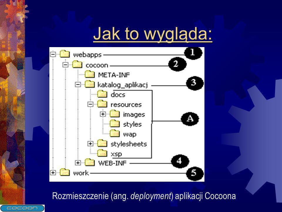 Jak to wygląda: Rozmieszczenie (ang. deployment) aplikacji Cocoona