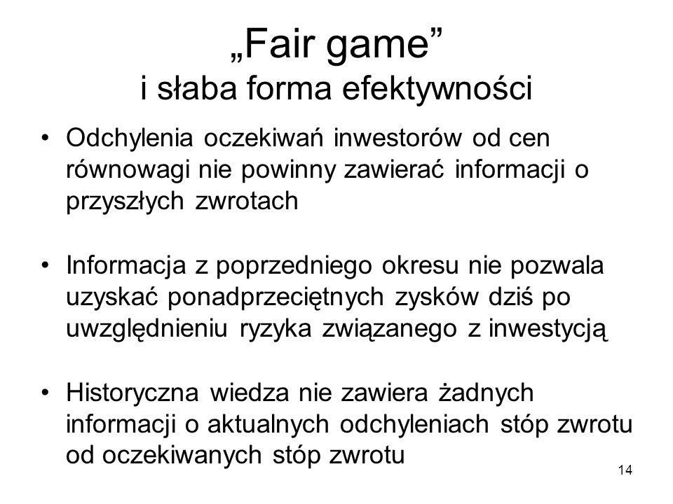 """""""Fair game i słaba forma efektywności"""