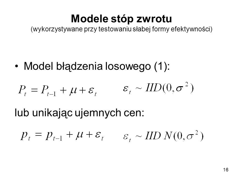 Modele stóp zwrotu (wykorzystywane przy testowaniu słabej formy efektywności)