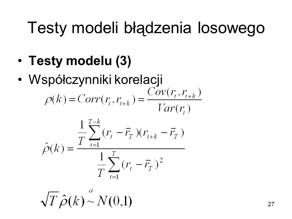 Testy modeli błądzenia losowego