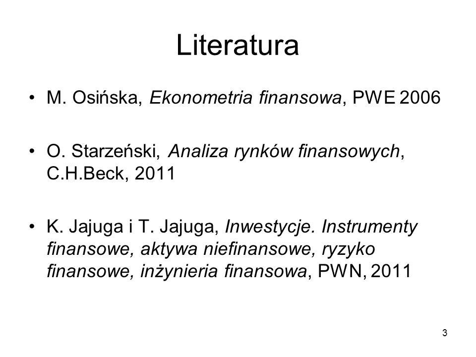 Literatura M. Osińska, Ekonometria finansowa, PWE 2006