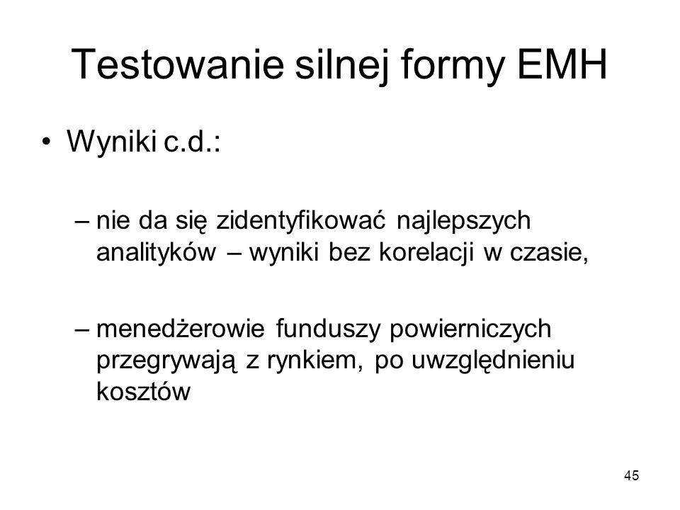Testowanie silnej formy EMH