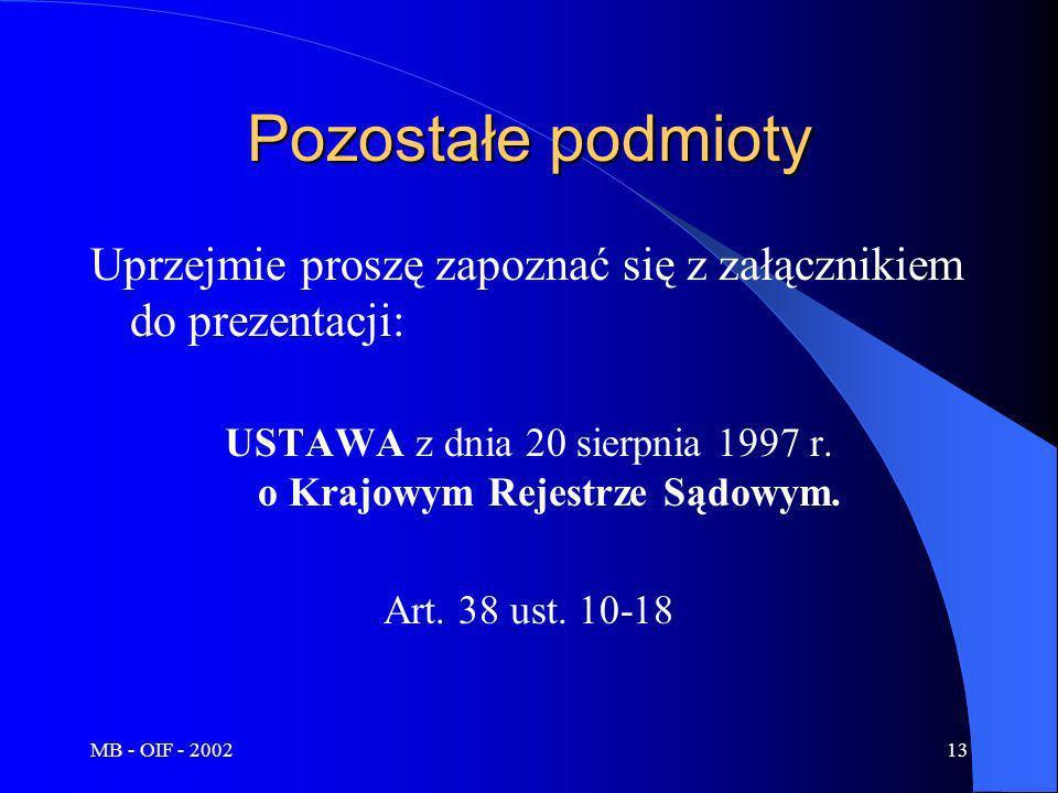 USTAWA z dnia 20 sierpnia 1997 r. o Krajowym Rejestrze Sądowym.