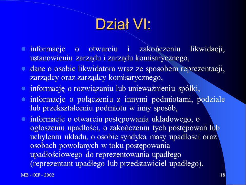 Dział VI: informacje o otwarciu i zakończeniu likwidacji, ustanowieniu zarządu i zarządu komisarycznego,