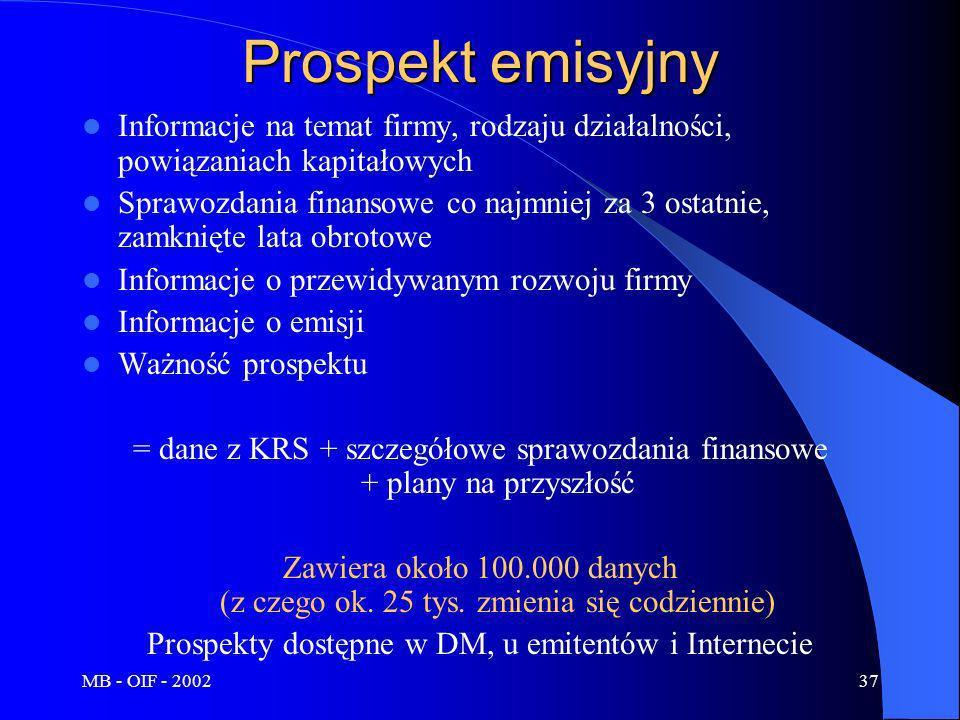 Prospekty dostępne w DM, u emitentów i Internecie