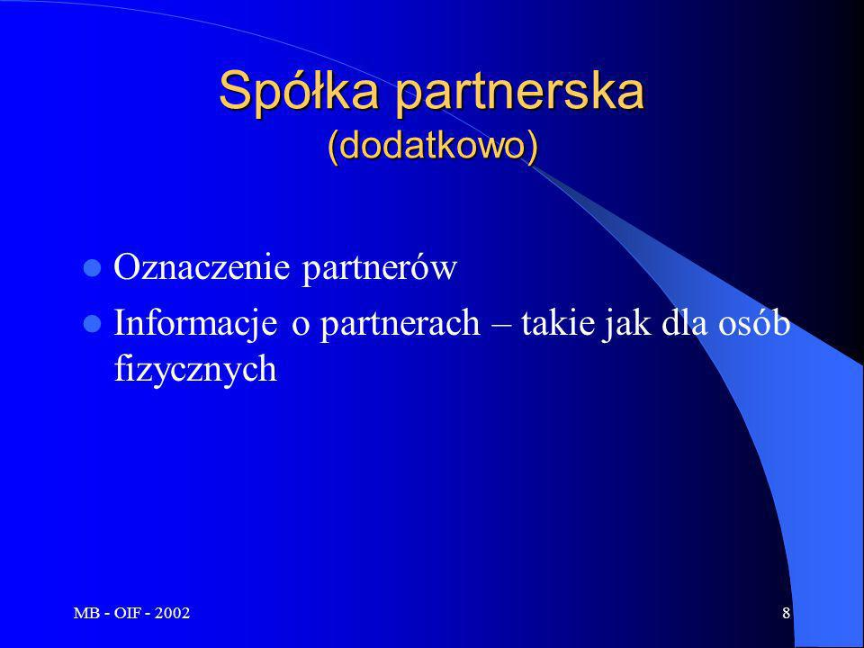 Spółka partnerska (dodatkowo)