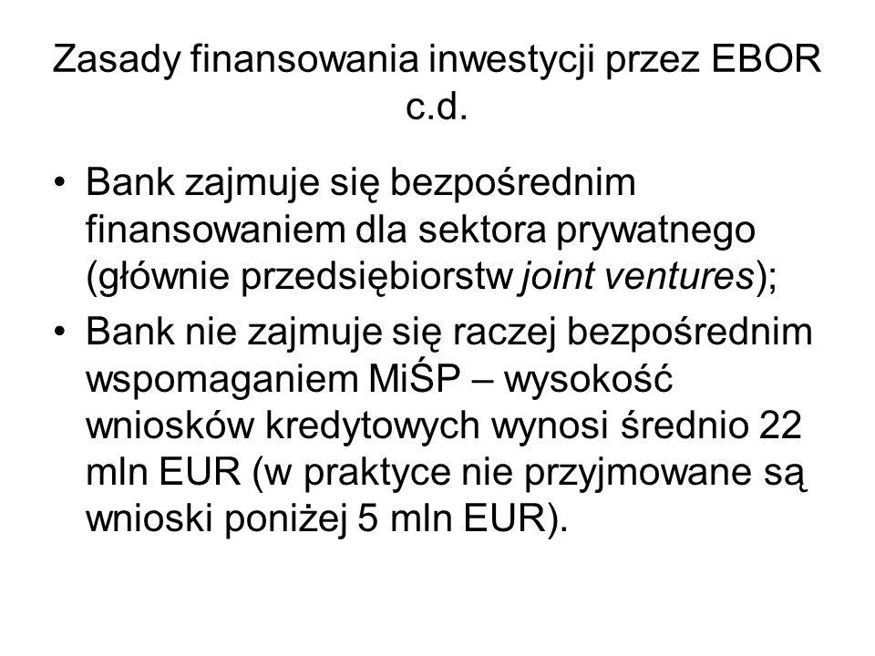 Zasady finansowania inwestycji przez EBOR c.d.