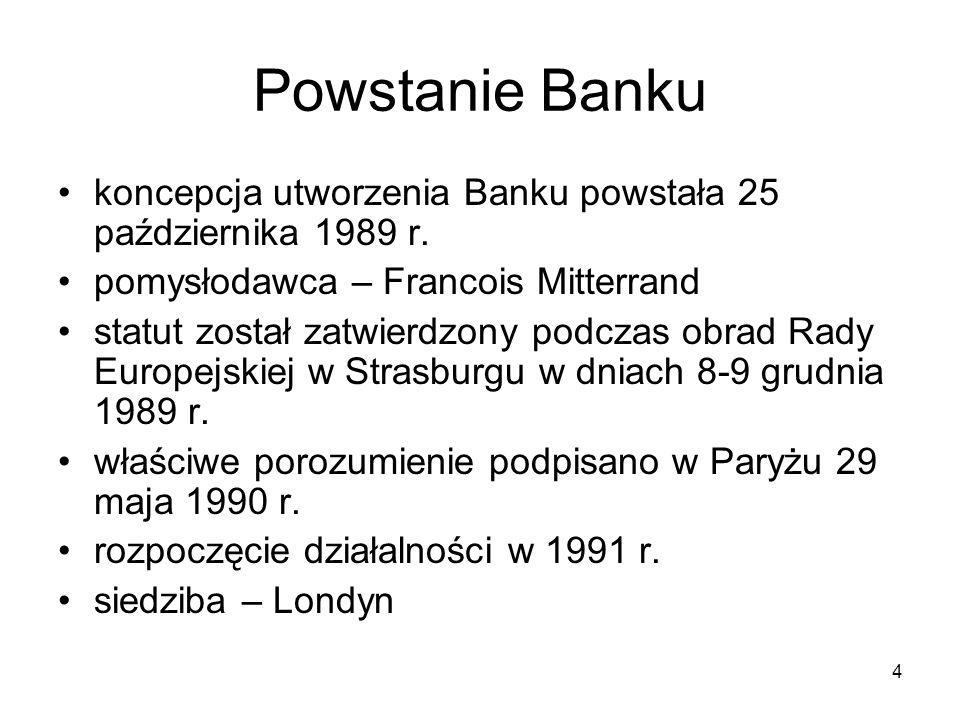 Powstanie Banku koncepcja utworzenia Banku powstała 25 października 1989 r. pomysłodawca – Francois Mitterrand.