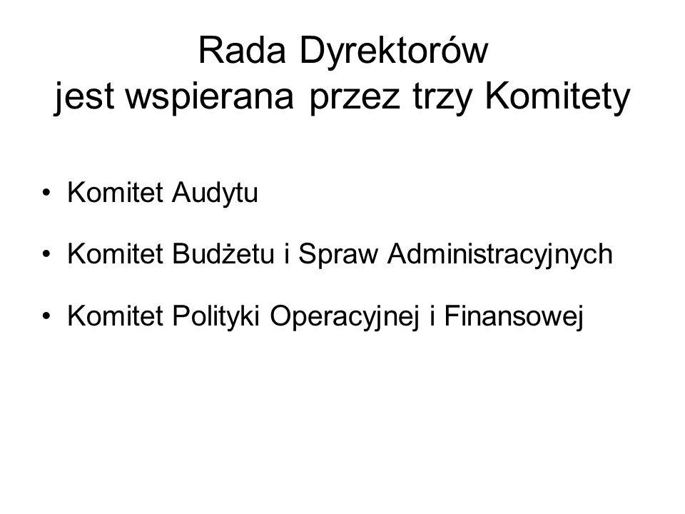 Rada Dyrektorów jest wspierana przez trzy Komitety