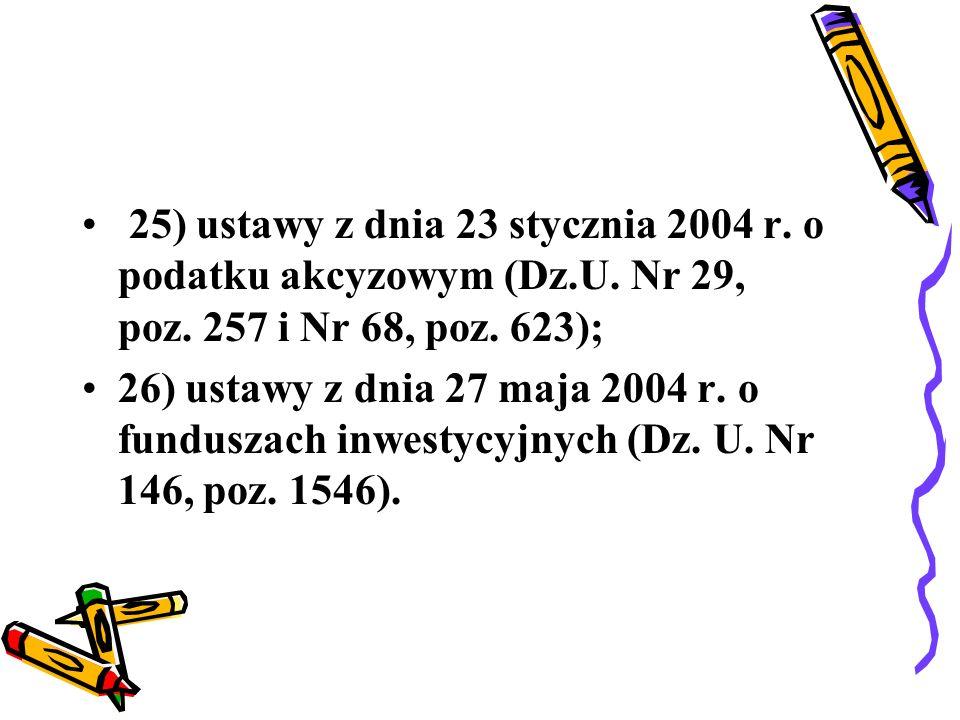 25) ustawy z dnia 23 stycznia 2004 r. o podatku akcyzowym (Dz. U
