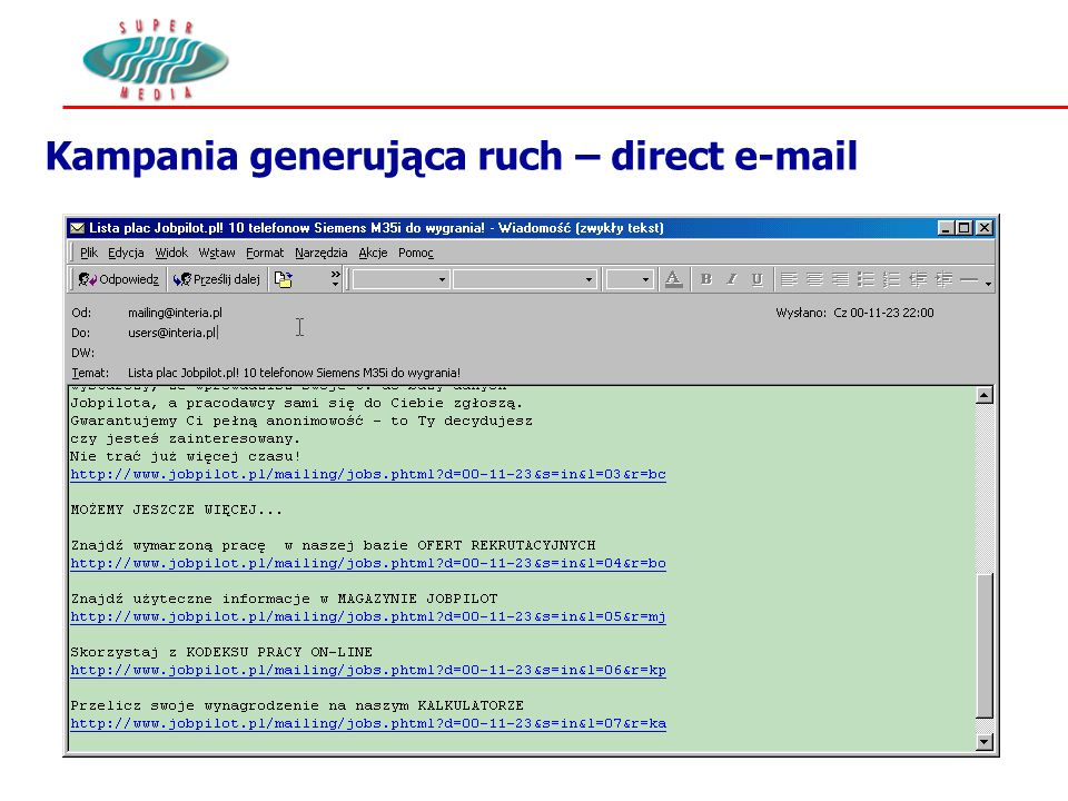 Kampania generująca ruch – direct e-mail