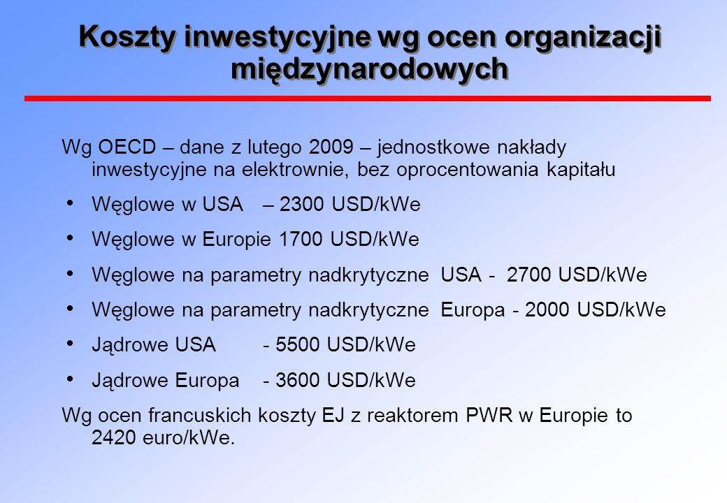 Koszty inwestycyjne wg ocen organizacji międzynarodowych