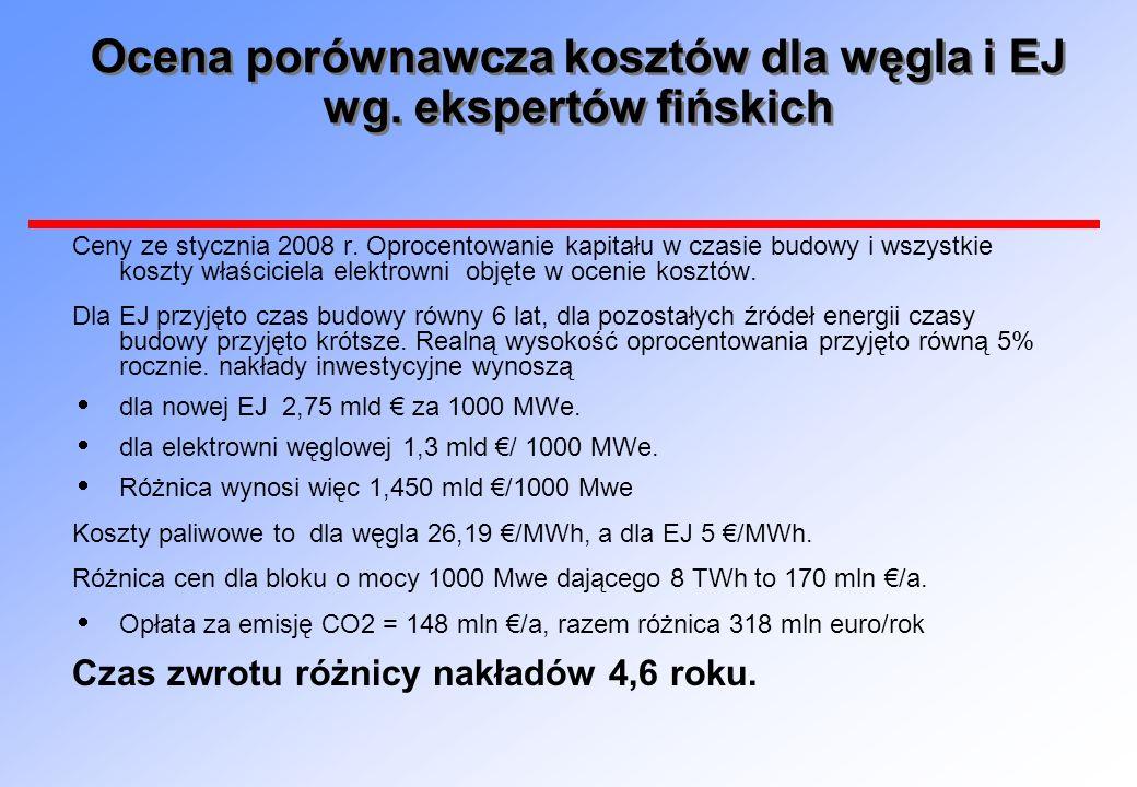 Ocena porównawcza kosztów dla węgla i EJ wg. ekspertów fińskich