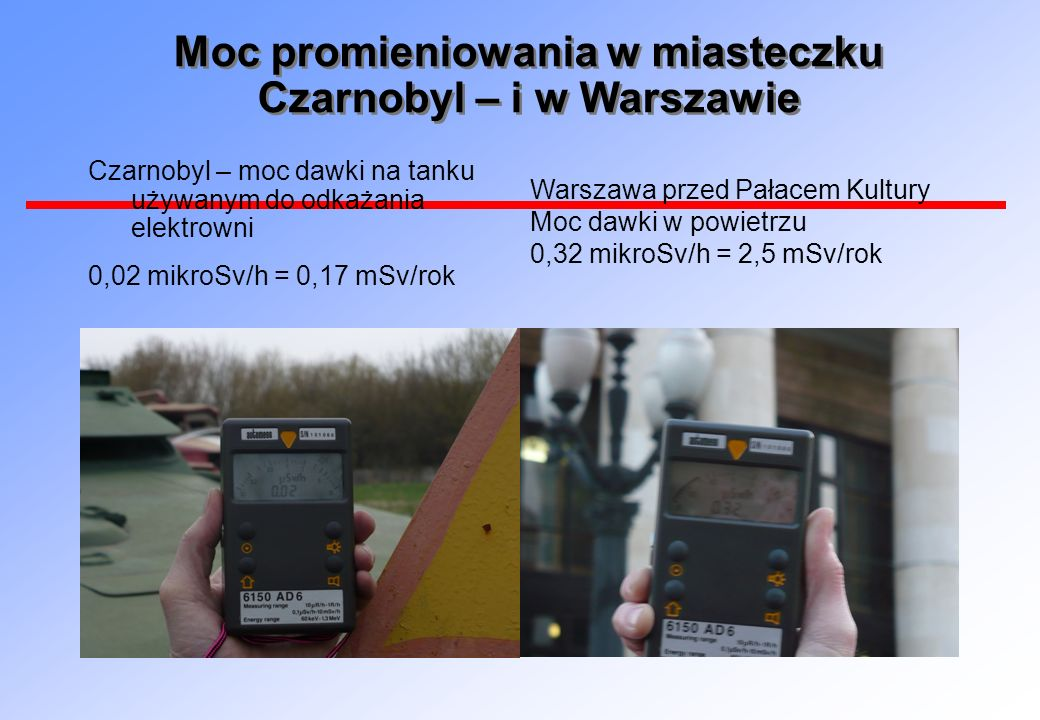 Moc promieniowania w miasteczku Czarnobyl – i w Warszawie