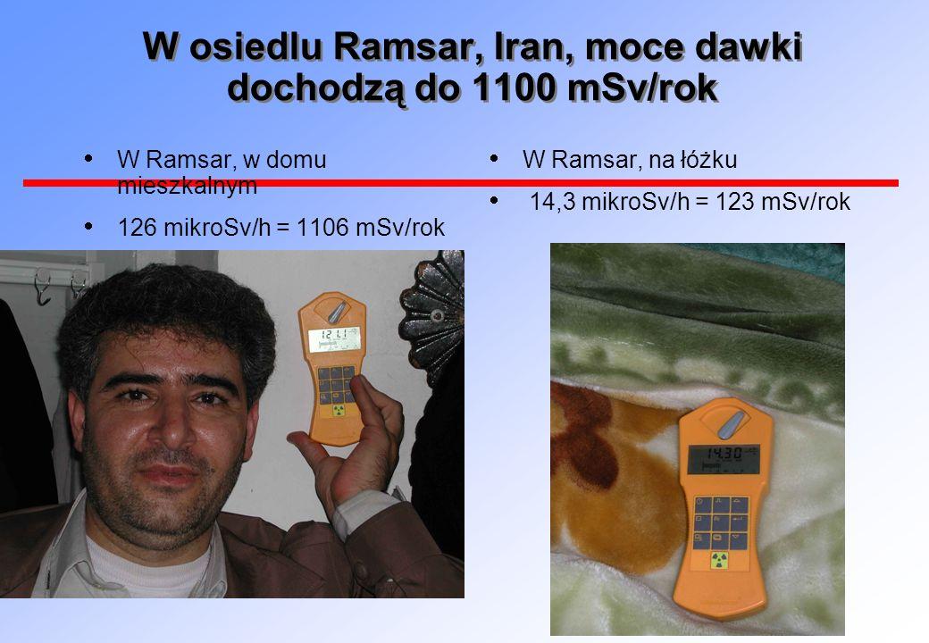 W osiedlu Ramsar, Iran, moce dawki dochodzą do 1100 mSv/rok