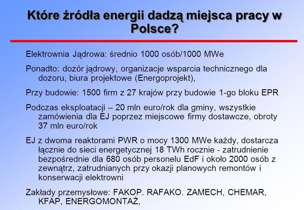 Które źródła energii dadzą miejsca pracy w Polsce