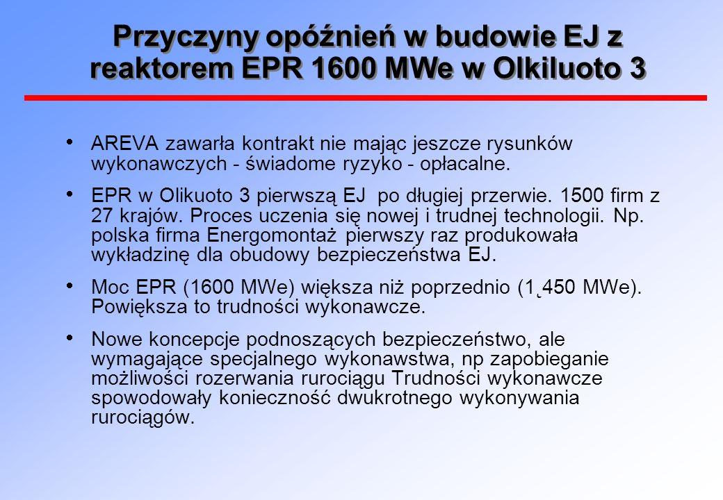 Przyczyny opóźnień w budowie EJ z reaktorem EPR 1600 MWe w Olkiluoto 3