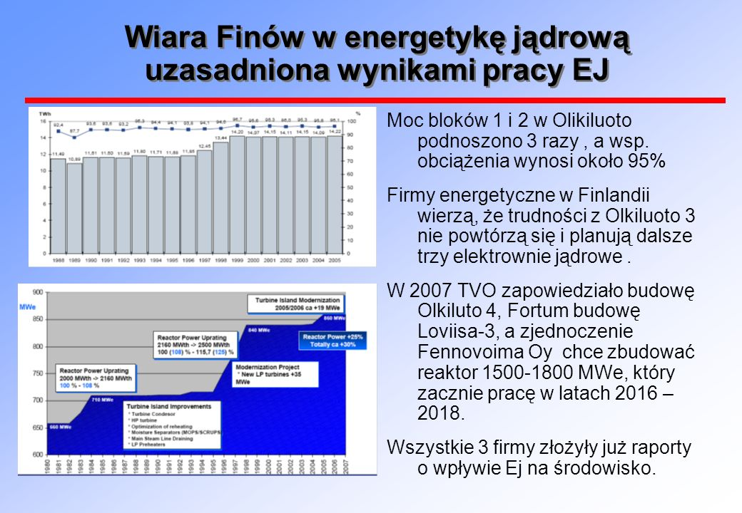 Wiara Finów w energetykę jądrową uzasadniona wynikami pracy EJ