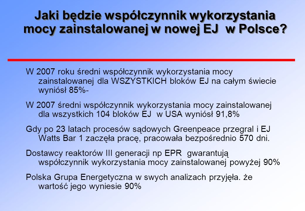 Jaki będzie współczynnik wykorzystania mocy zainstalowanej w nowej EJ w Polsce