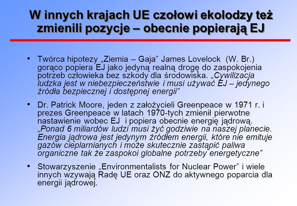 W innych krajach UE czołowi ekolodzy też zmienili pozycje – obecnie popierają EJ