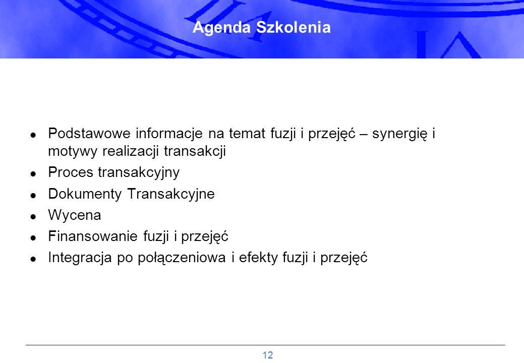 Agenda Szkolenia Podstawowe informacje na temat fuzji i przejęć – synergię i motywy realizacji transakcji.