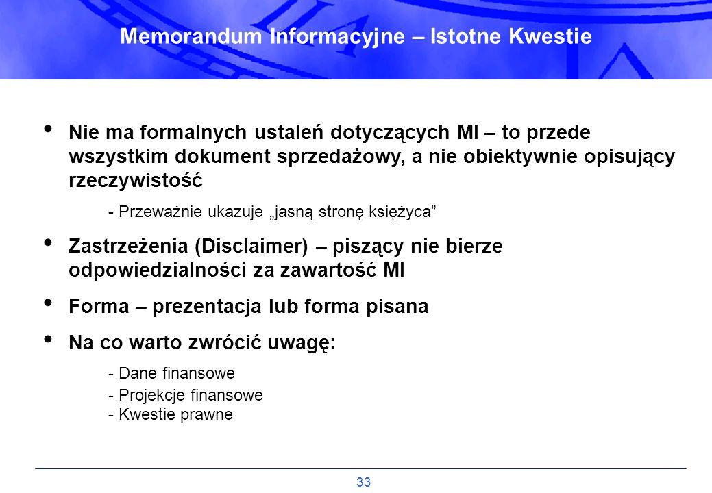Memorandum Informacyjne – Istotne Kwestie