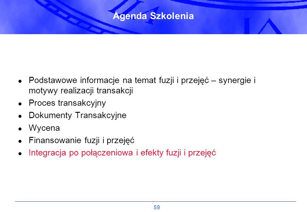Agenda Szkolenia Podstawowe informacje na temat fuzji i przejęć – synergie i motywy realizacji transakcji.