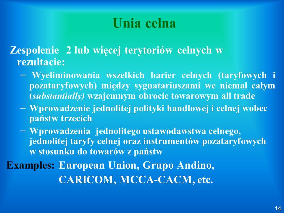Unia celna Zespolenie 2 lub więcej terytoriów celnych w rezultacie: