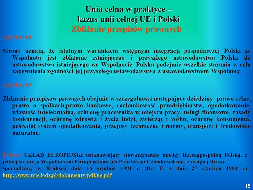 Unia celna w praktyce – kazus unii celnej UE i Polski