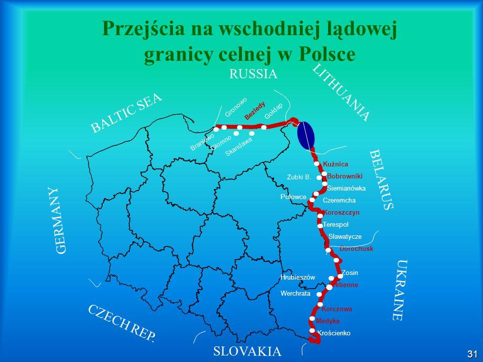 Przejścia na wschodniej lądowej granicy celnej w Polsce