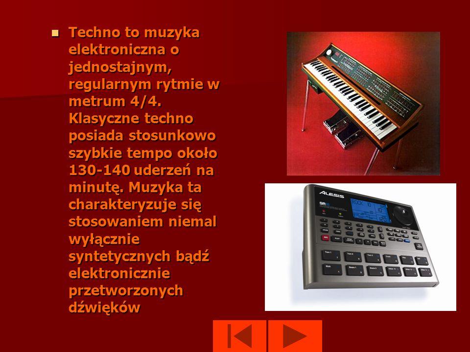 Techno to muzyka elektroniczna o jednostajnym, regularnym rytmie w metrum 4/4.