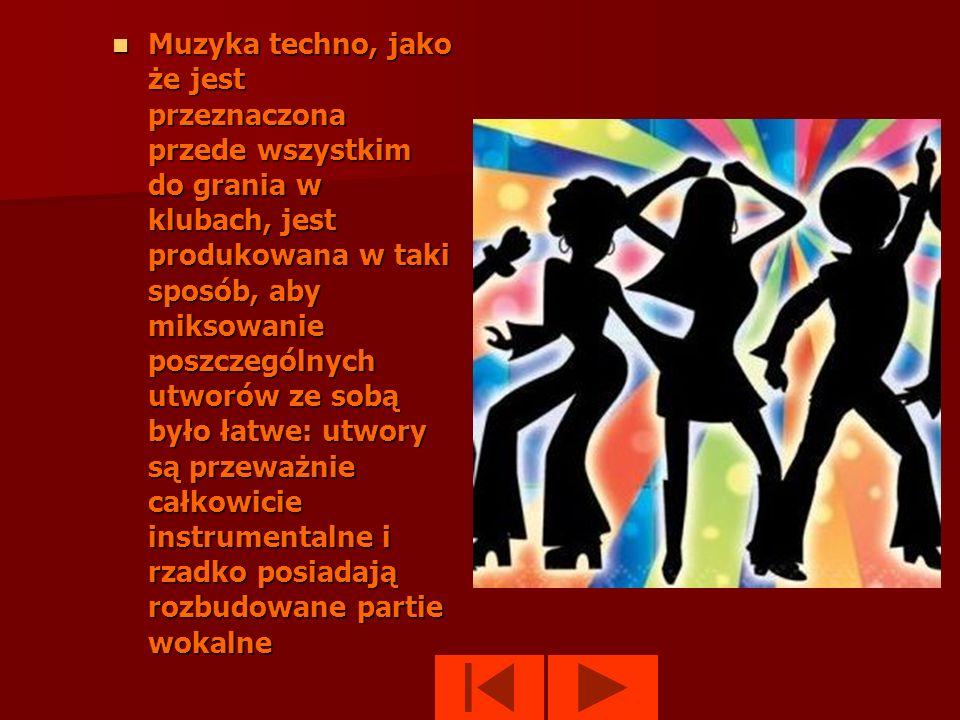 Muzyka techno, jako że jest przeznaczona przede wszystkim do grania w klubach, jest produkowana w taki sposób, aby miksowanie poszczególnych utworów ze sobą było łatwe: utwory są przeważnie całkowicie instrumentalne i rzadko posiadają rozbudowane partie wokalne