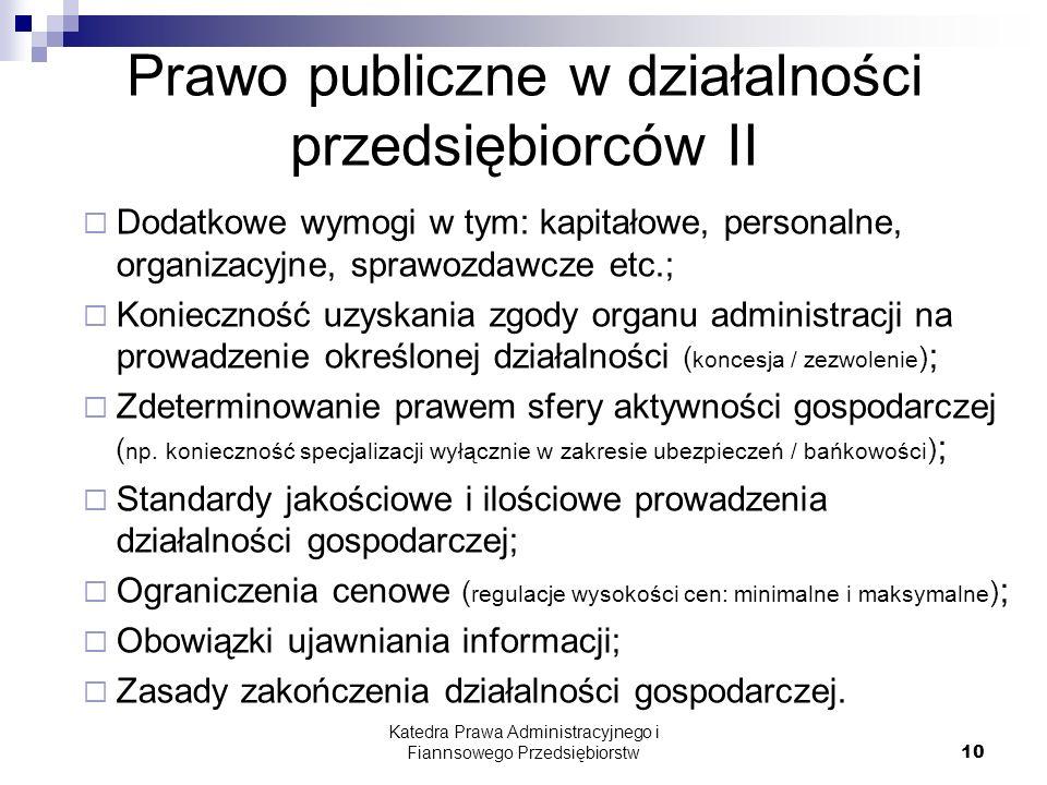 Prawo publiczne w działalności przedsiębiorców II