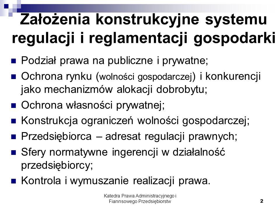 Założenia konstrukcyjne systemu regulacji i reglamentacji gospodarki