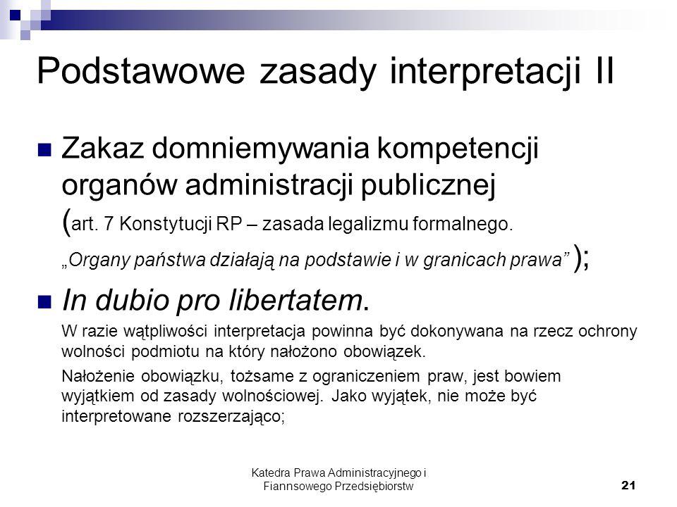 Podstawowe zasady interpretacji II